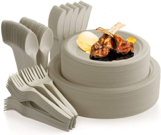 Compostable-Plates-and-Utensils-Set -Bagasse