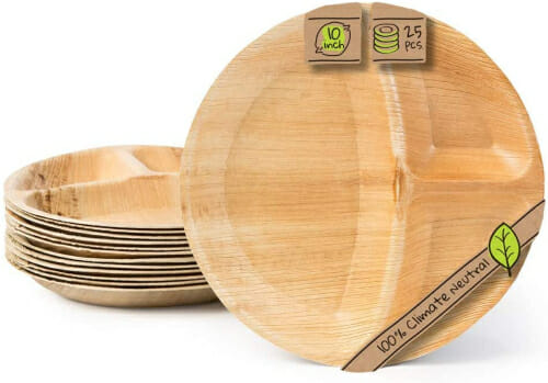 divided eco friendly areca leaf plates