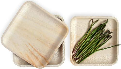 square leafily palm leaf plates