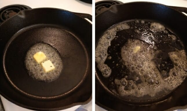 cast-iron-alternative-to-non-stick-cookware-melting-butter-collage